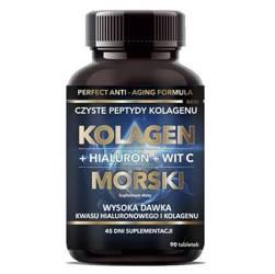 Kolagen morski + hialuron + wit. C 500 mg w tabletkach 45g