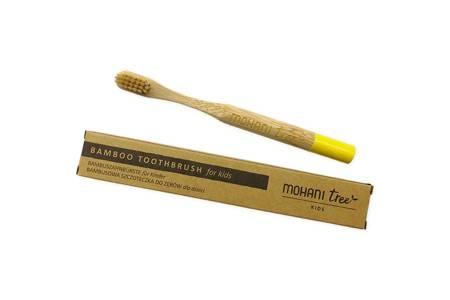 Bambusowa szczoteczka do zębów Mohani dla dzieci - żółta, włosie miękkie