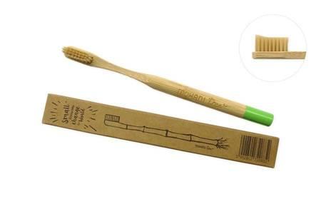 Bambusowa szczoteczka do zębów Mohani - zielona, włosie miękkie, profilowane