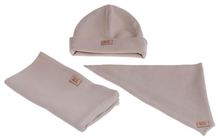 Komplet czapka chusta i komin: BISZKOPTOWY