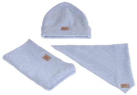 Komplet czapka chusta i komin: MGLISTY PYŁ